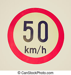 Retro look Speed limit sign - Vintage retro looking Traffic...
