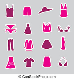 womens clothing stickers set eps10
