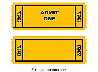 Two tickets - Illustration of two cinema or movie tickets,...