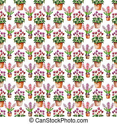 seamless texture with flowers home. watercolor
