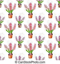vattenfärg, Blomstrar, Hem,  seamless, Struktur