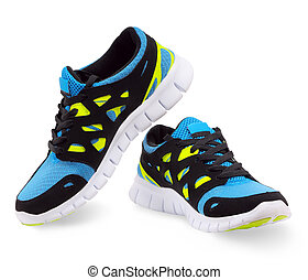 Lightweight running shoes on a white background