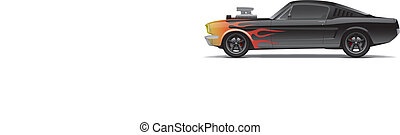 customized muscle car with supercharger and flames