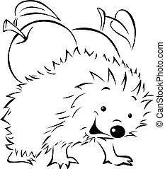 Hedgehog carries on his back an apple - black outline...