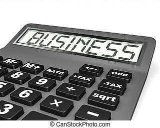 Calculator with BUSINESS on display.