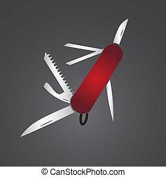 red pocket knife eps10
