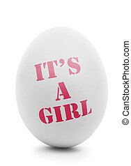 It's a girl pink text on white egg isolated