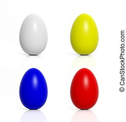Four colored eggs blue,yellow,red,white isolated