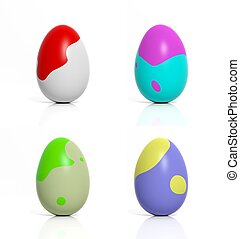 Four colored eggs with abstract shapes isolated on white