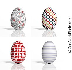 Four colored eggs with geometric shapes isolated on white