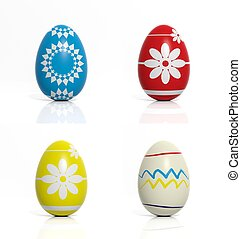 Four eggs with flowers and geometric shapes isolated