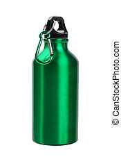 Green Water Container - Green Metal Water Container On White...