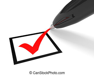 Checkbox - Red tick in checkbox and pen. Vote. 3D...