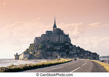 Mont Saint Michele - Le Mont Saint Michele abbey in sunny...