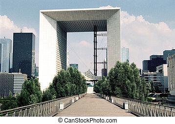 Grande Arche skyscraper in Defence district in Paris, France