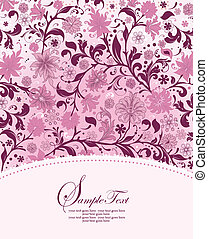 Invitation Card - retro vector floral background with text...