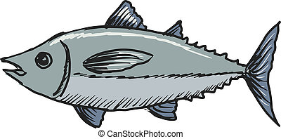 tuna - hand drawn, sketch, cartoon illustration of tuna