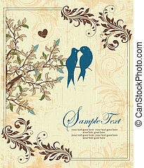 Invitation Card - Love Birds Sitting In a Tree Wedding...