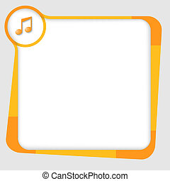 orange and yellow box for text with music icon