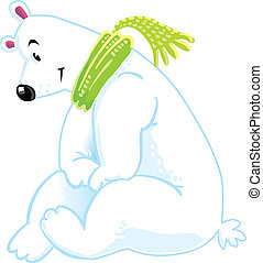 Funny smiling polar bear - Funy smiling polar bear sitting...