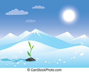 Spring arctic sunny landscape with green sprout.