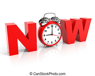 Time NOW concept. - Time NOW concept on white background. 3D...