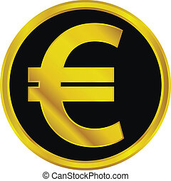 Gold euro sign button on white background.