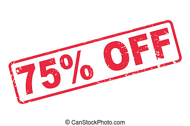 stamp 75 percent off with red text on white - stamp 75...