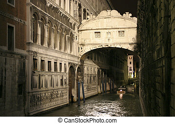Ponte dei Sospiri, night shot of the beautiful Bridge of...