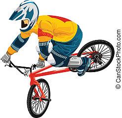 młody, rower, jeździec