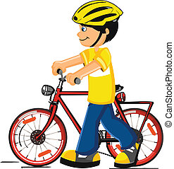 Boy with a bicycle vector on a white background