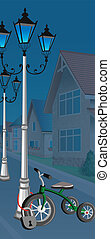 Kids bicycle locked to lamppost. Vector illustration