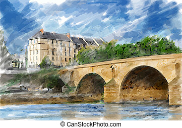 Illustration of city bridge. Watercolor style.