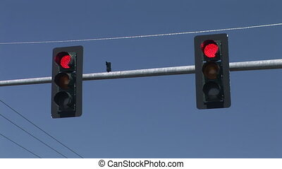 Traffic Signal - Two traffic signals changing from red to...