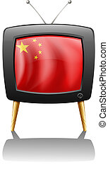 A TV with the flag of China - Illustration of a TV with the...
