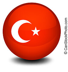A soccer ball with the flag of Turkey