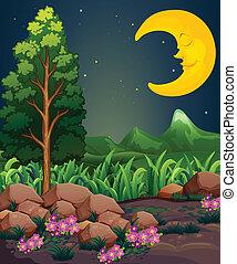 A sleeping moon - Illustration of a sleeping moon