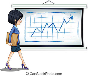 A successful businesswoman near the chart