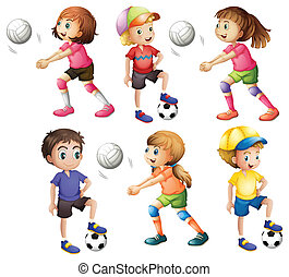 Kids playing volleyball and football - Illustration of the...
