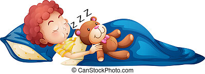 A young boy sleeping - Illustration of a young boy sleeping...