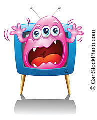 A TV with a pink monster screaming - Illustration of a TV...