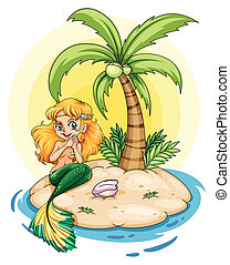 An island with a smiling mermaid - Illustration of an island...