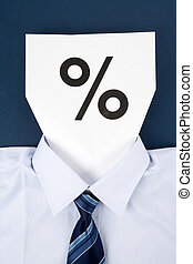 Paper Face and Percentage Sign, Business Concept