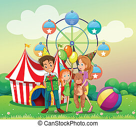 A family at the carnival - Illustration of a family at the...
