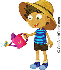 A cute little boy with a sprinkler - Illustration of a cute...