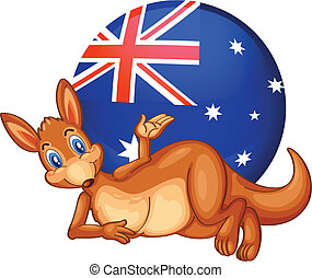 A kangaroo in front of the ball with the Australian flag -...