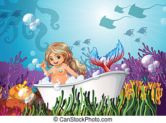 A bathtub under the sea with a mermaid