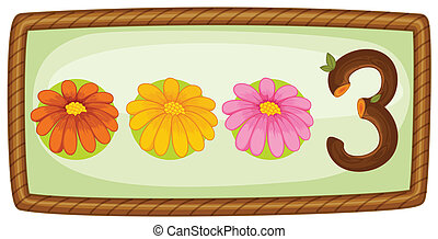 A frame with three flowers