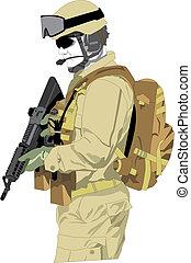 spécial, forces, soldat