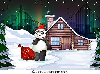 A Santa panda with a red sack full of gifts - Illustration...